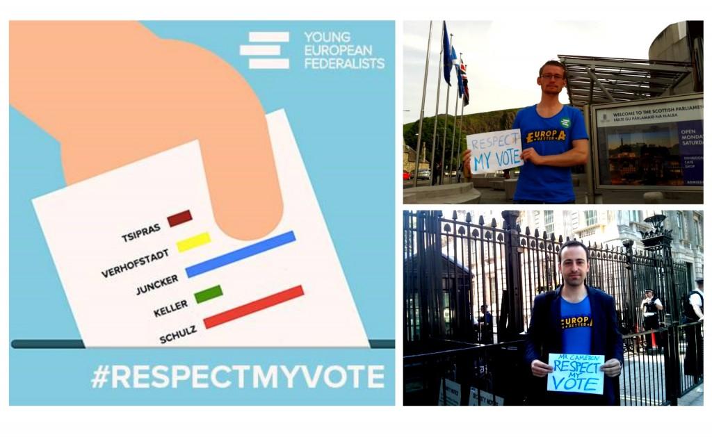 #RespectMyVote-Campaign der JEF Europe und ihre Unterstützer Daniel Matteo und Markus Breitweg